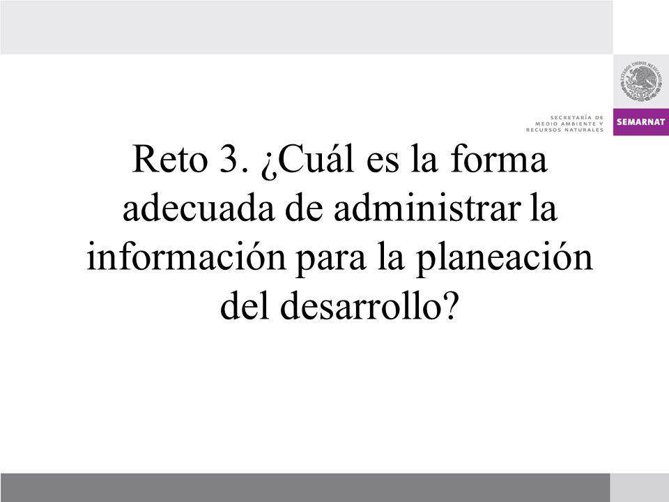 Reto 3. ¿Cuál es la forma adecuada de administrar la información para la planeación del desarrollo
