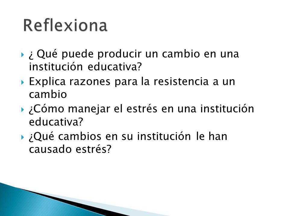 Reflexiona ¿ Qué puede producir un cambio en una institución educativa Explica razones para la resistencia a un cambio.