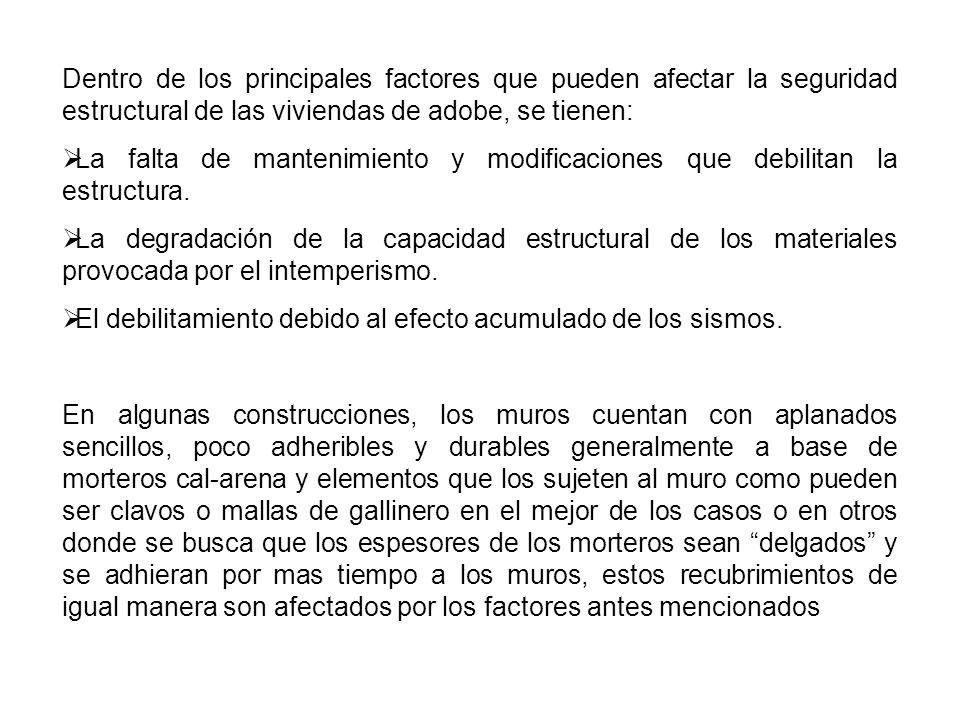 Dentro de los principales factores que pueden afectar la seguridad estructural de las viviendas de adobe, se tienen: