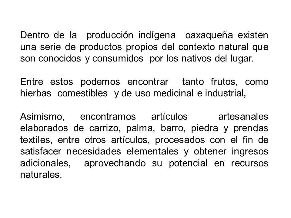 Dentro de la producción indígena oaxaqueña existen una serie de productos propios del contexto natural que son conocidos y consumidos por los nativos del lugar.