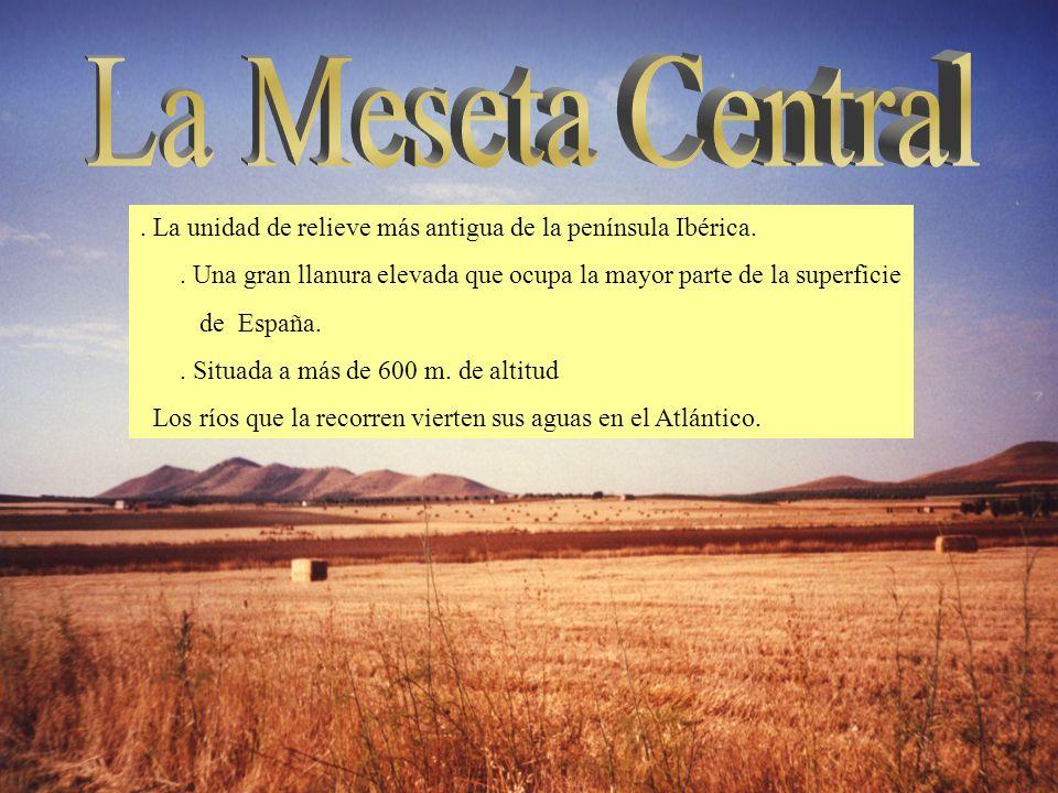 La Meseta Central . La unidad de relieve más antigua de la península Ibérica. . Una gran llanura elevada que ocupa la mayor parte de la superficie.