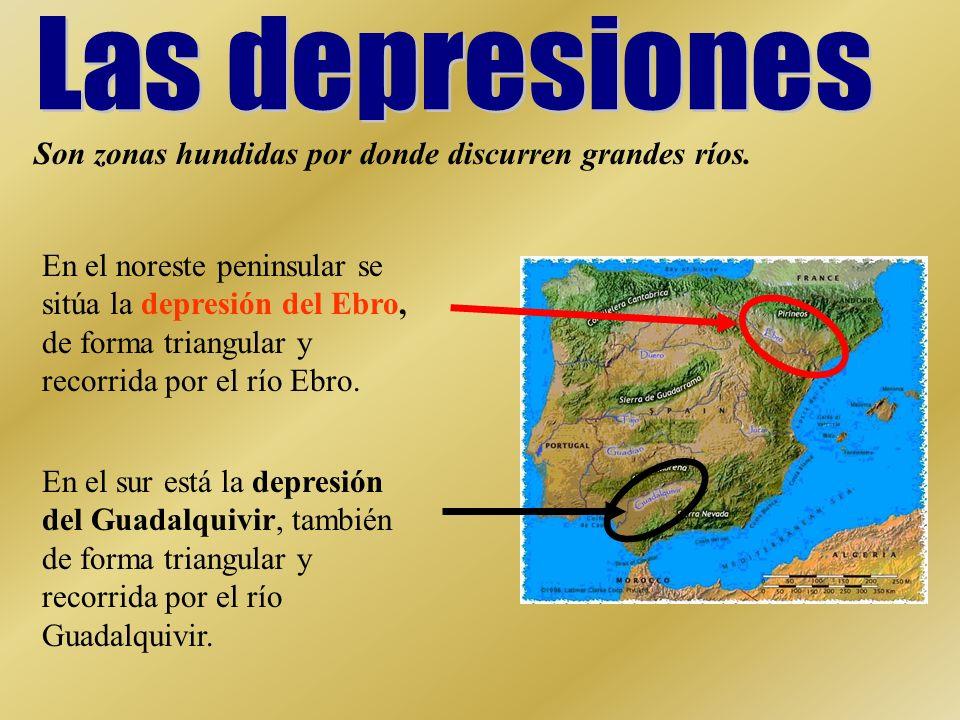 Las depresiones Son zonas hundidas por donde discurren grandes ríos.