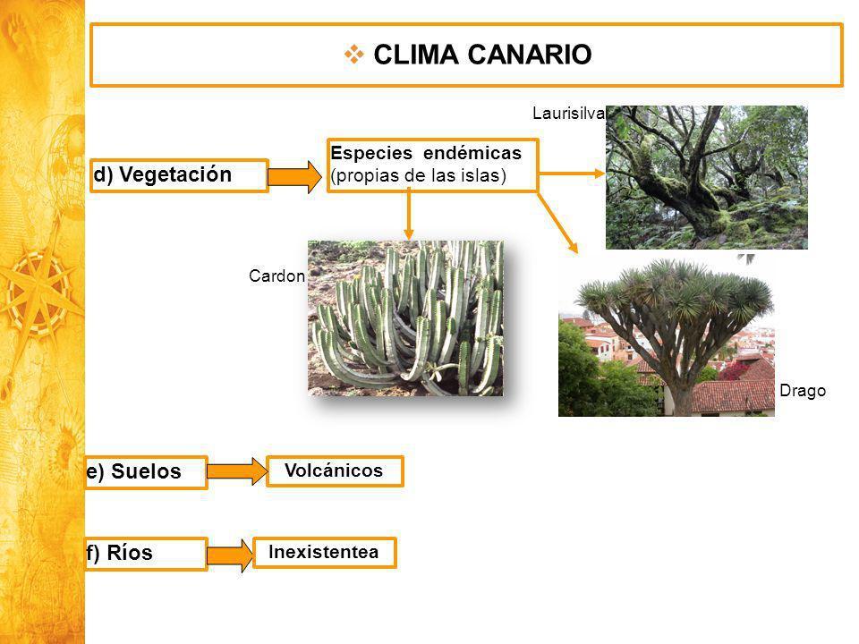 CLIMA CANARIO d) Vegetación e) Suelos f) Ríos