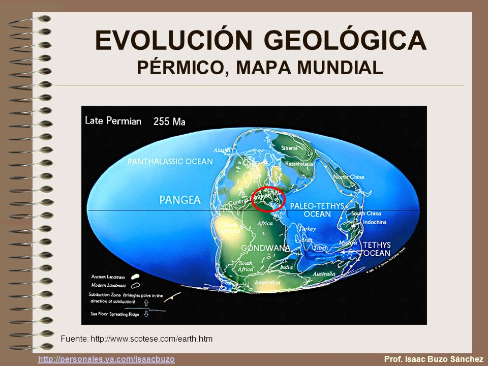 EVOLUCIÓN GEOLÓGICA PÉRMICO, MAPA MUNDIAL