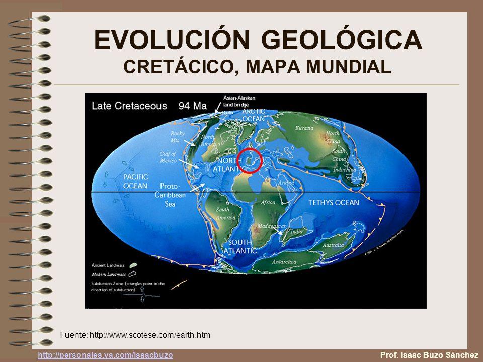 EVOLUCIÓN GEOLÓGICA CRETÁCICO, MAPA MUNDIAL
