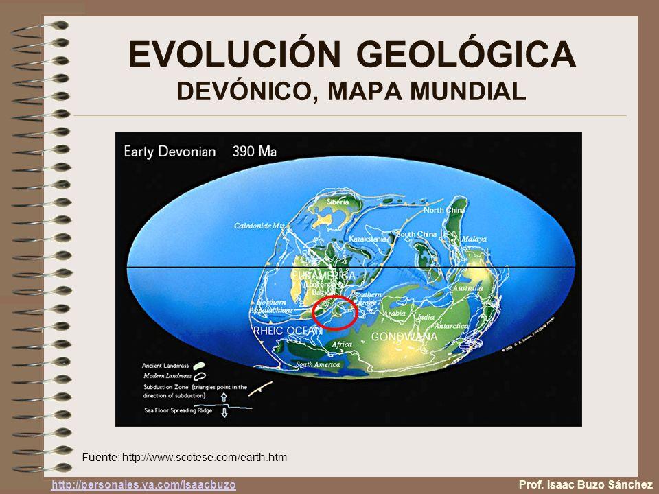 EVOLUCIÓN GEOLÓGICA DEVÓNICO, MAPA MUNDIAL