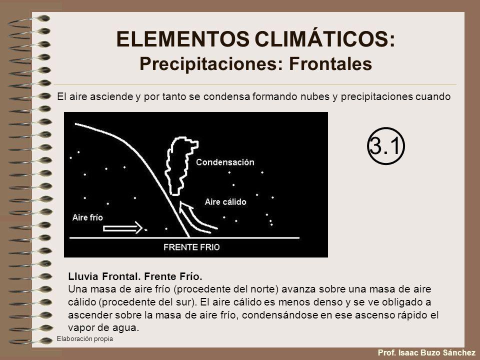ELEMENTOS CLIMÁTICOS: Precipitaciones: Frontales