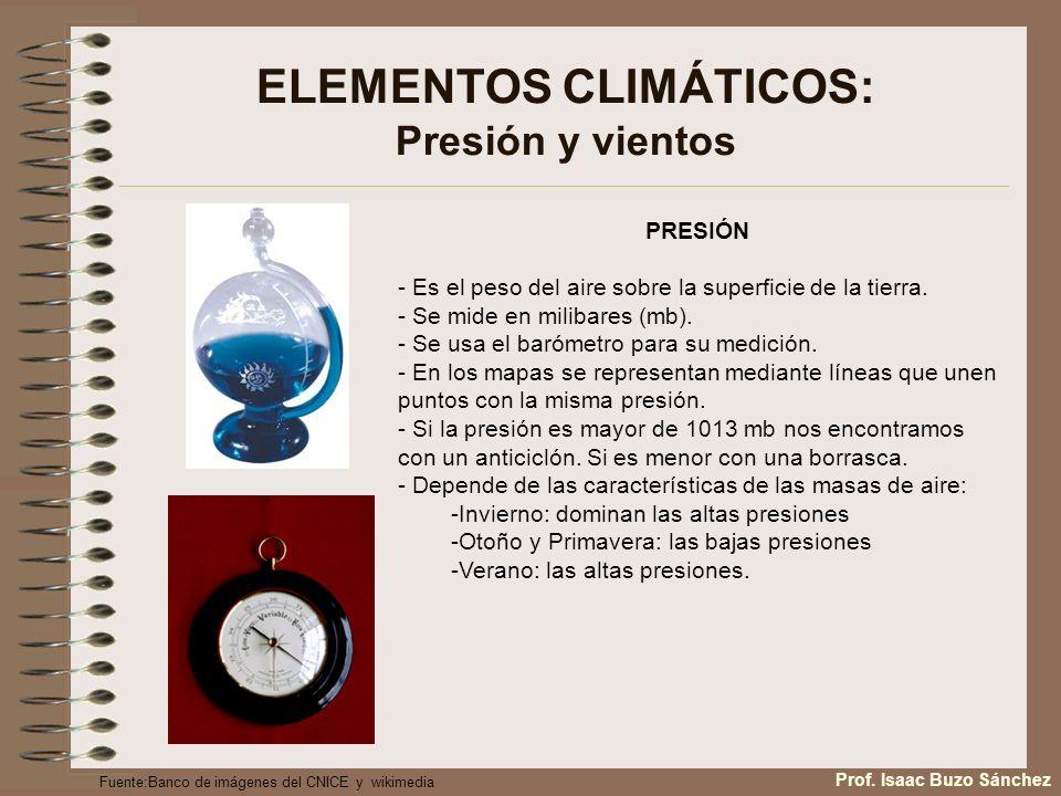 ELEMENTOS CLIMÁTICOS: Presión y vientos