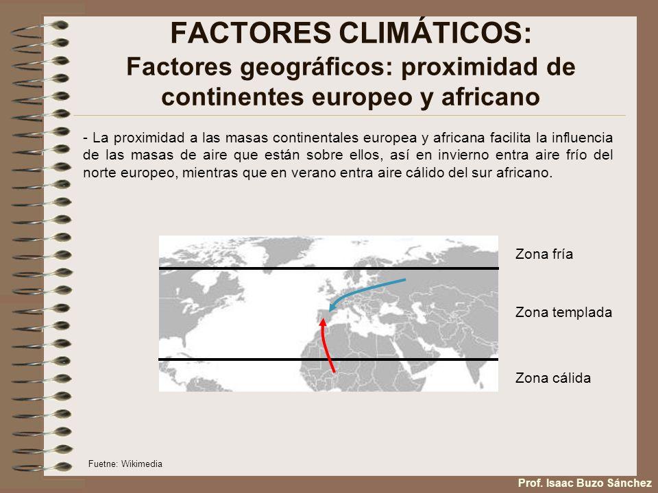 FACTORES CLIMÁTICOS: Factores geográficos: proximidad de continentes europeo y africano