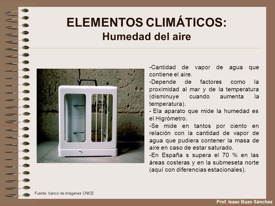 ELEMENTOS CLIMÁTICOS: Humedad del aire