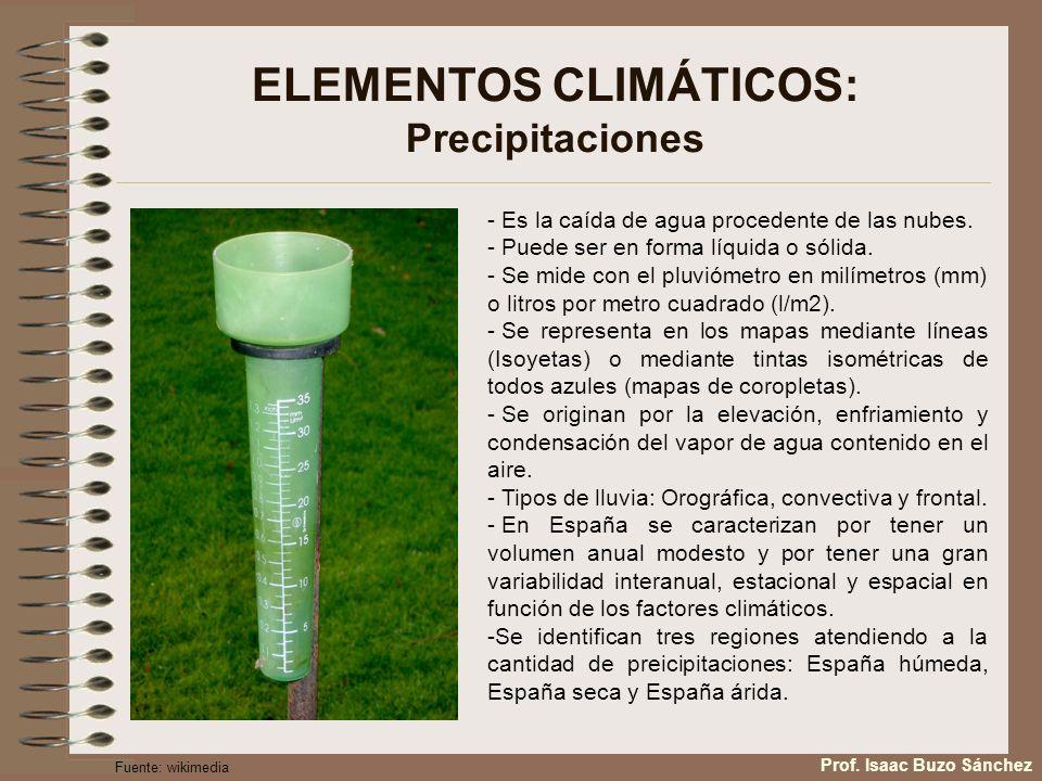 ELEMENTOS CLIMÁTICOS: Precipitaciones