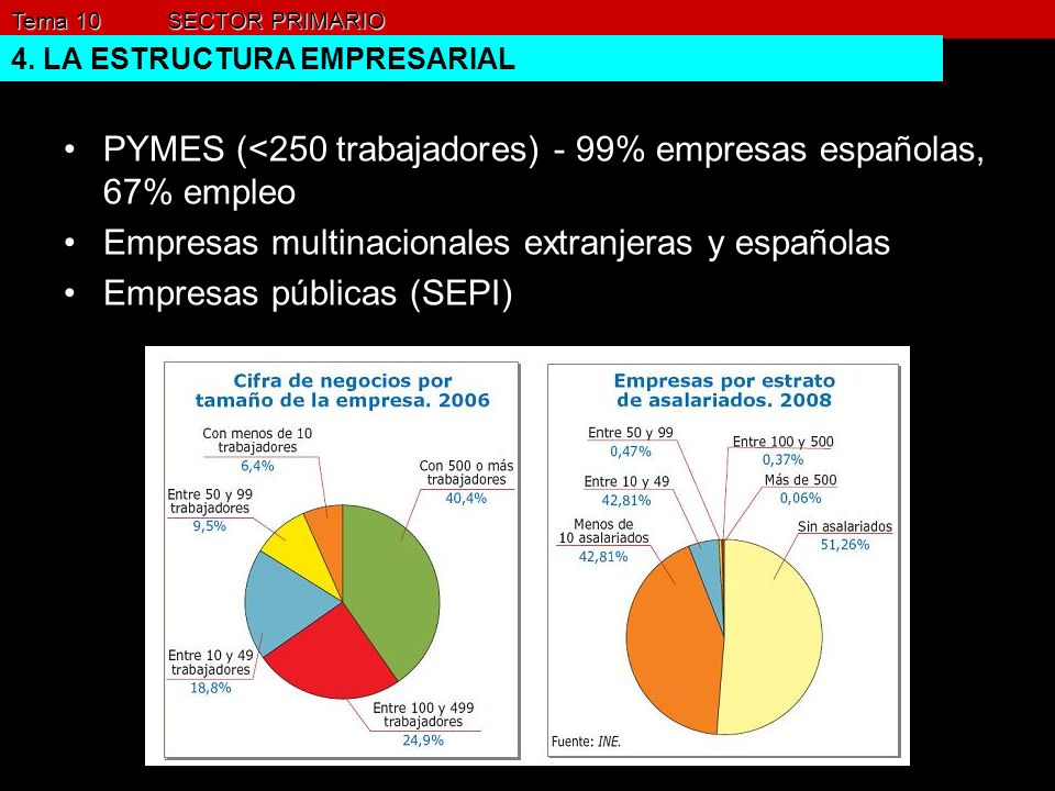 PYMES (<250 trabajadores) - 99% empresas españolas, 67% empleo