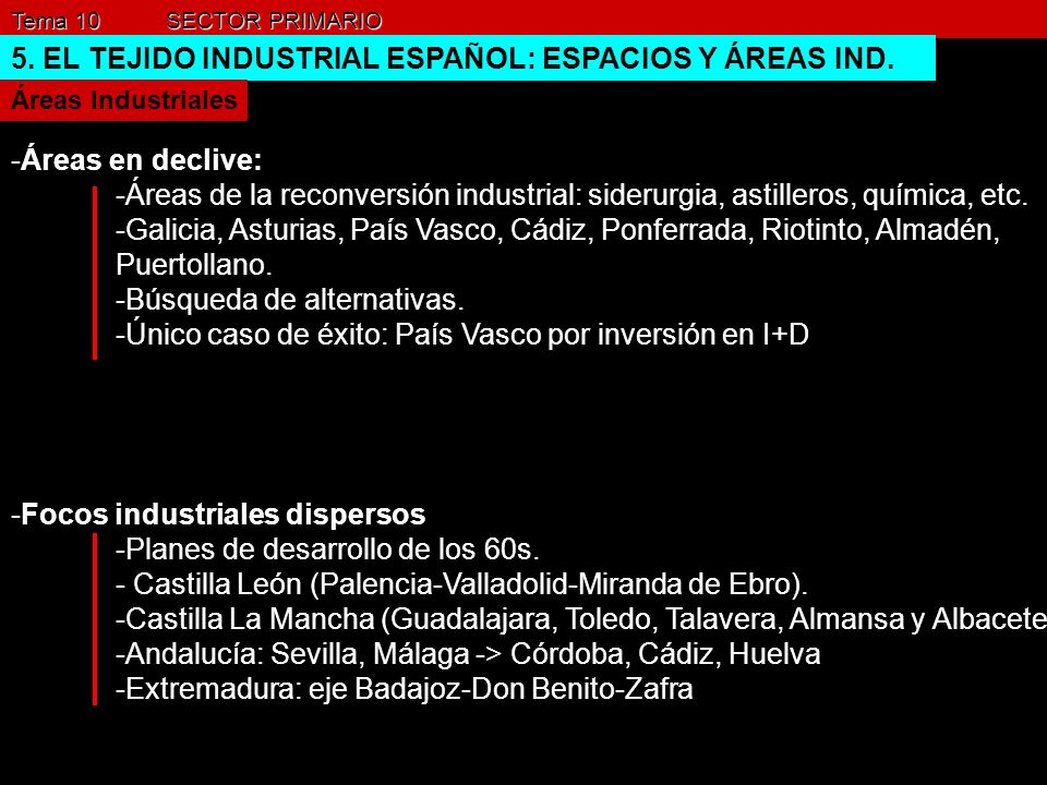 5. EL TEJIDO INDUSTRIAL ESPAÑOL: ESPACIOS Y ÁREAS IND.