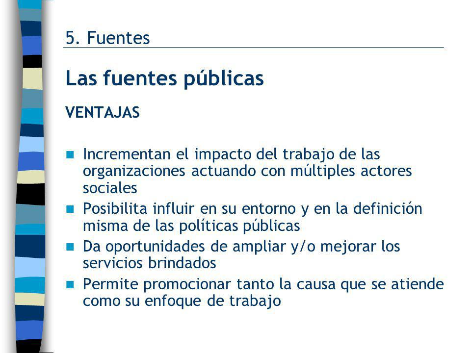 Las fuentes públicas 5. Fuentes VENTAJAS