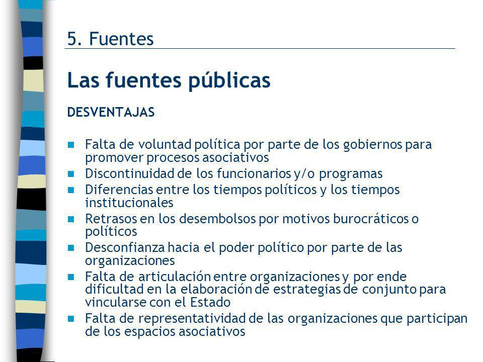 Las fuentes públicas 5. Fuentes DESVENTAJAS