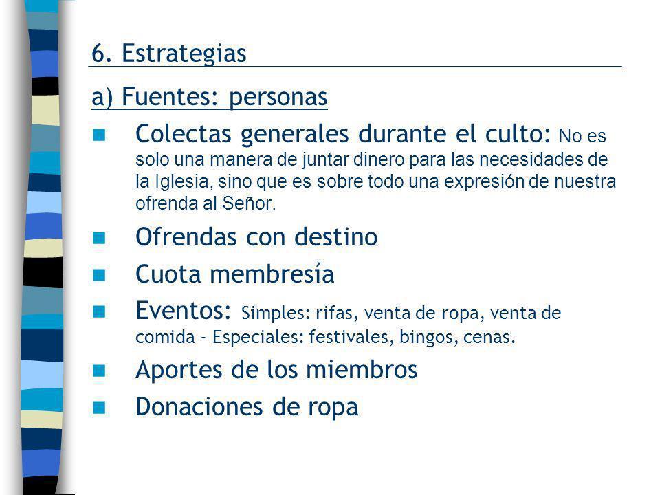 6. Estrategias a) Fuentes: personas.
