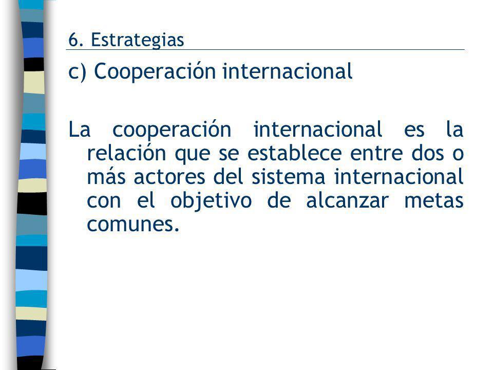 c) Cooperación internacional