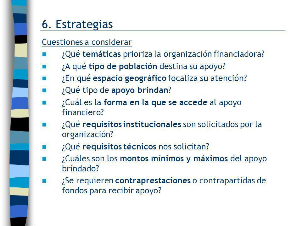 6. Estrategias Cuestiones a considerar