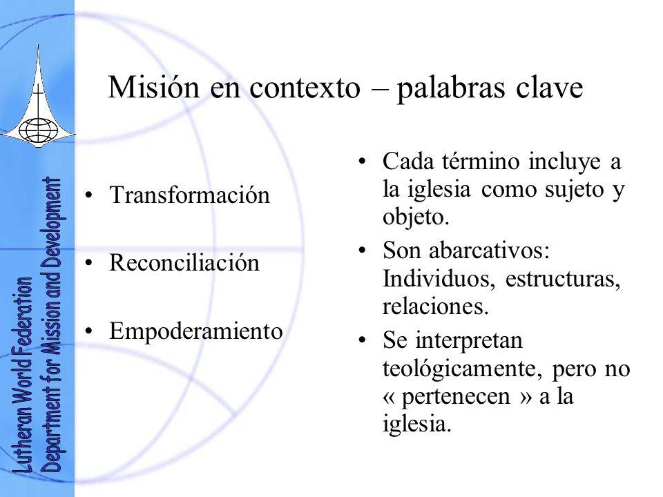 Misión en contexto – palabras clave