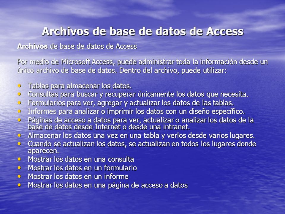 Archivos de base de datos de Access