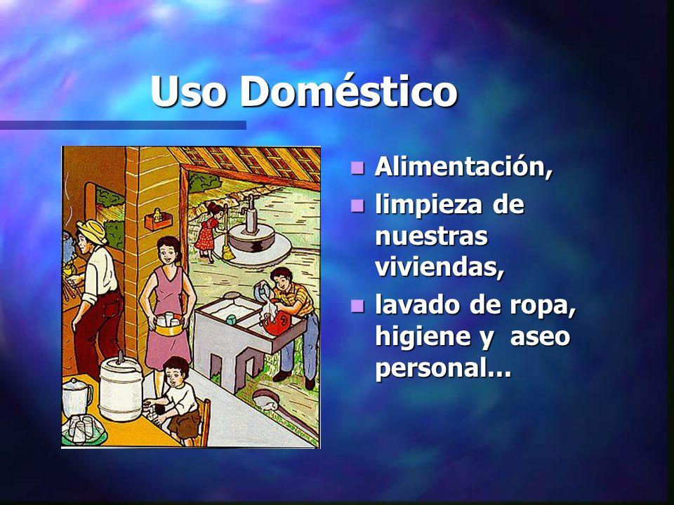 Uso Doméstico Alimentación, limpieza de nuestras viviendas,