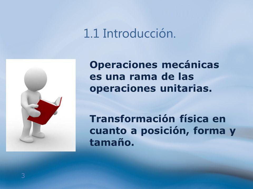 1.1 Introducción. Operaciones mecánicas es una rama de las operaciones unitarias.