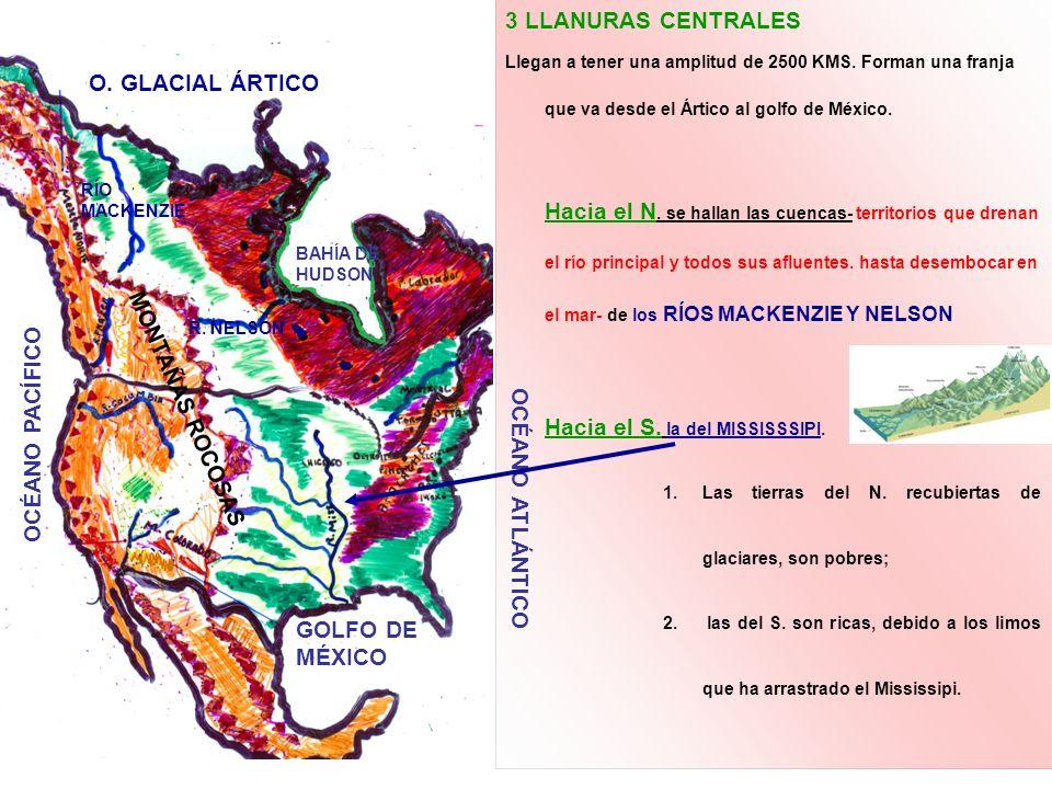 3 LLANURAS CENTRALES O. GLACIAL ÁRTICO MONTAÑAS ROCOSAS