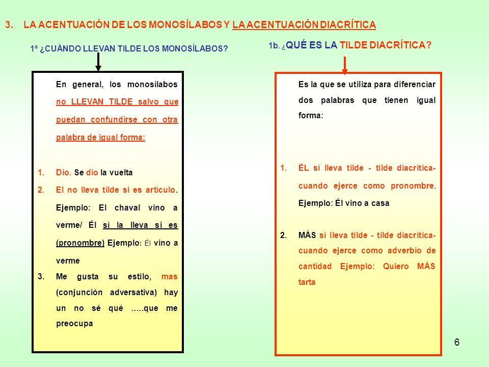 3. LA ACENTUACIÓN DE LOS MONOSÍLABOS Y LA ACENTUACIÓN DIACRÍTICA