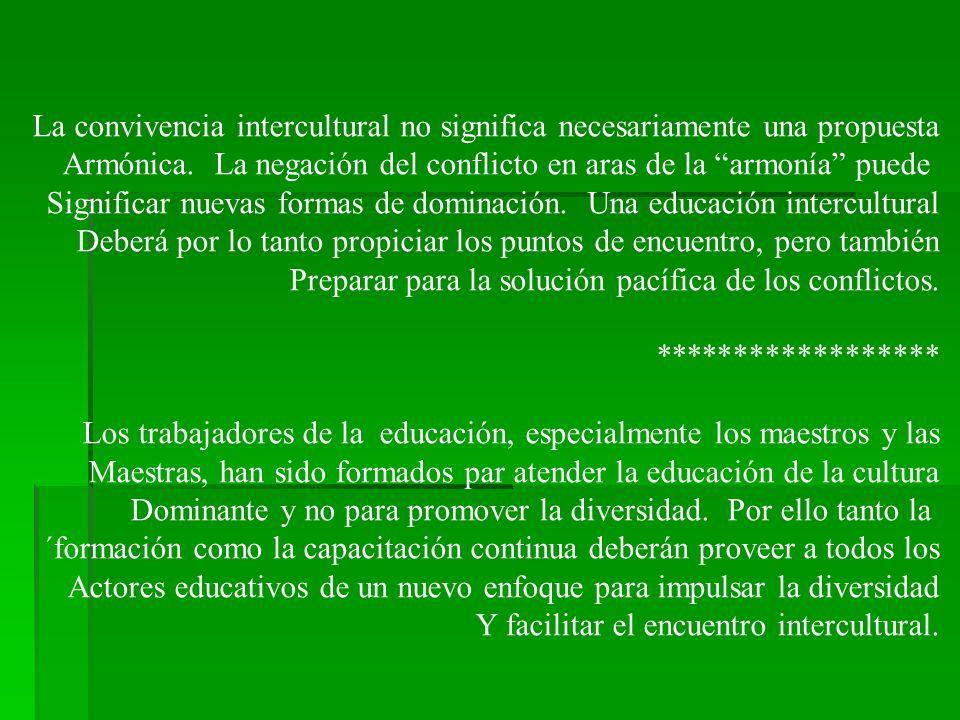 La convivencia intercultural no significa necesariamente una propuesta