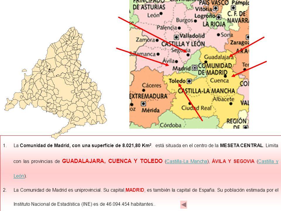 La Comunidad de Madrid, con una superficie de 8. 021,80 Km2