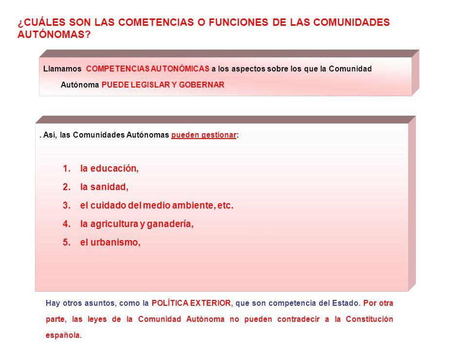 ¿CUÁLES SON LAS COMETENCIAS O FUNCIONES DE LAS COMUNIDADES AUTÓNOMAS