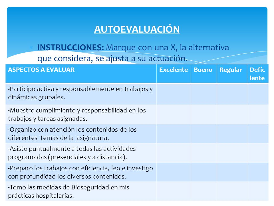 AUTOEVALUACIÓN INSTRUCCIONES: Marque con una X, la alternativa que considera, se ajusta a su actuación.