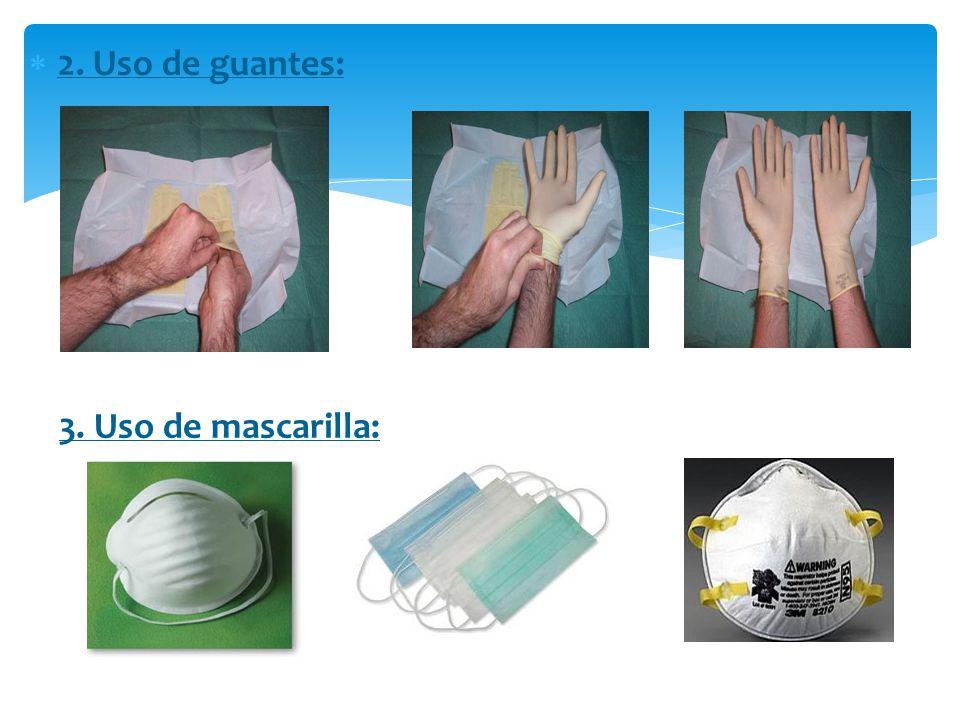2. Uso de guantes: 3. Uso de mascarilla: