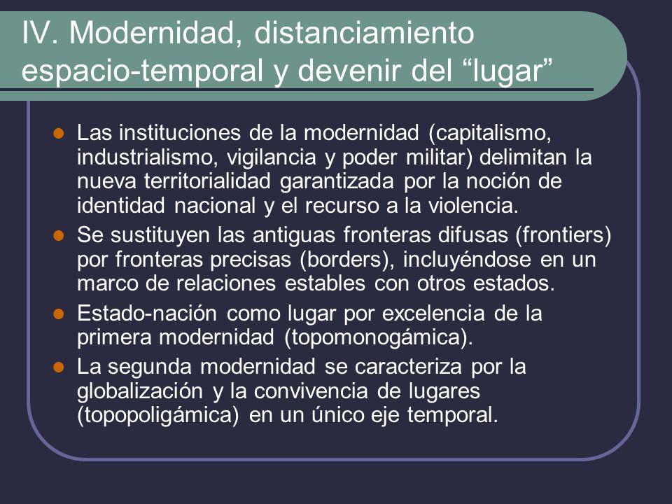 IV. Modernidad, distanciamiento espacio-temporal y devenir del lugar