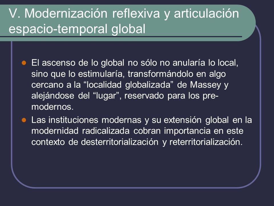 V. Modernización reflexiva y articulación espacio-temporal global