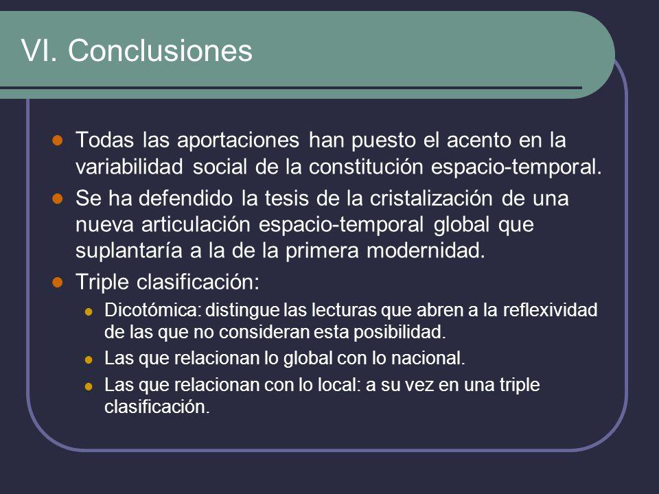 VI. ConclusionesTodas las aportaciones han puesto el acento en la variabilidad social de la constitución espacio-temporal.