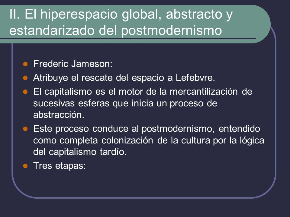 II. El hiperespacio global, abstracto y estandarizado del postmodernismo