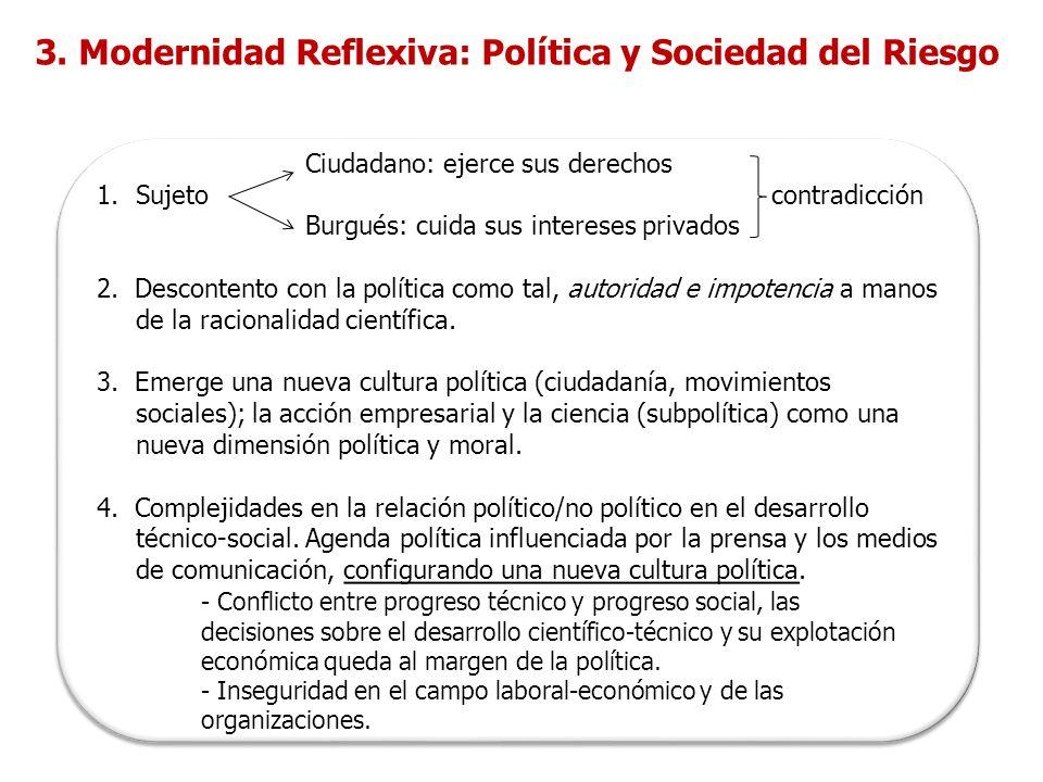 3. Modernidad Reflexiva: Política y Sociedad del Riesgo