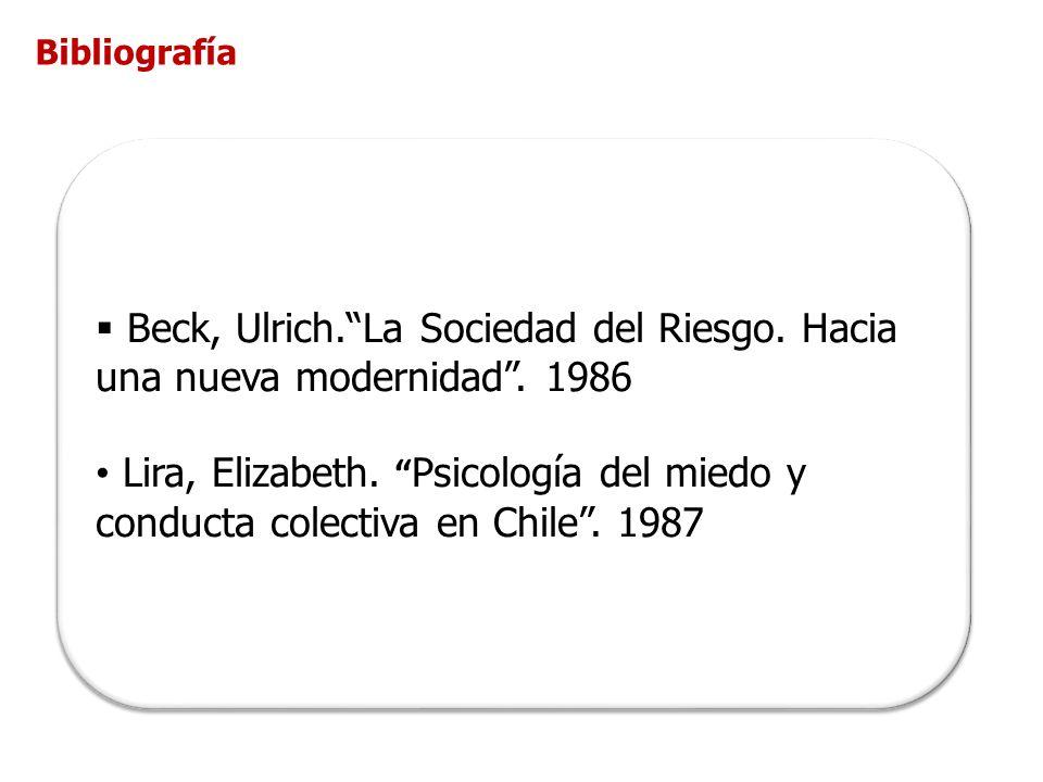 Bibliografía Beck, Ulrich. La Sociedad del Riesgo. Hacia una nueva modernidad . 1986.