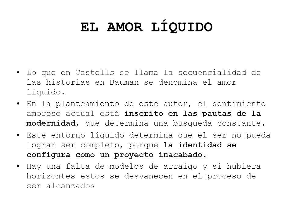 EL AMOR LÍQUIDOLo que en Castells se llama la secuencialidad de las historias en Bauman se denomina el amor líquido.