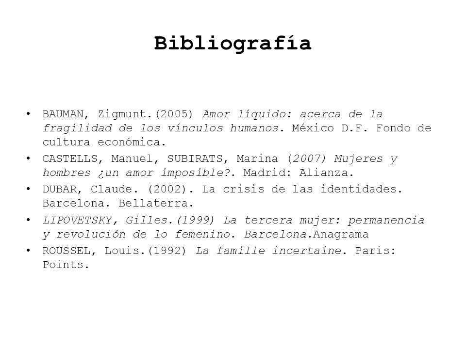 BibliografíaBAUMAN, Zigmunt.(2005) Amor líquido: acerca de la fragilidad de los vínculos humanos. México D.F. Fondo de cultura económica.
