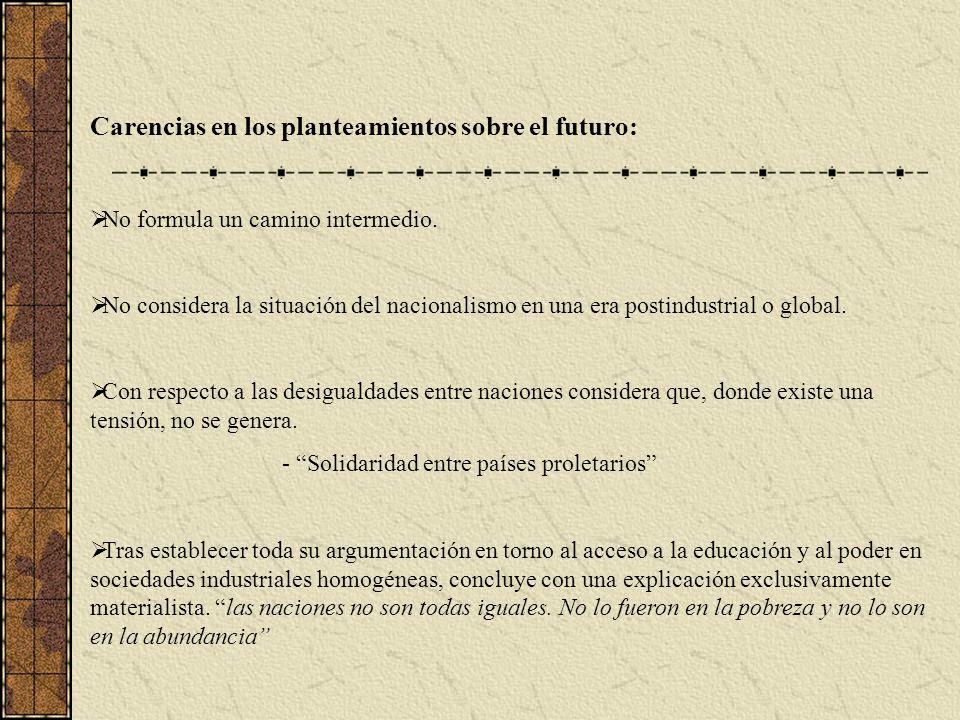 Carencias en los planteamientos sobre el futuro: