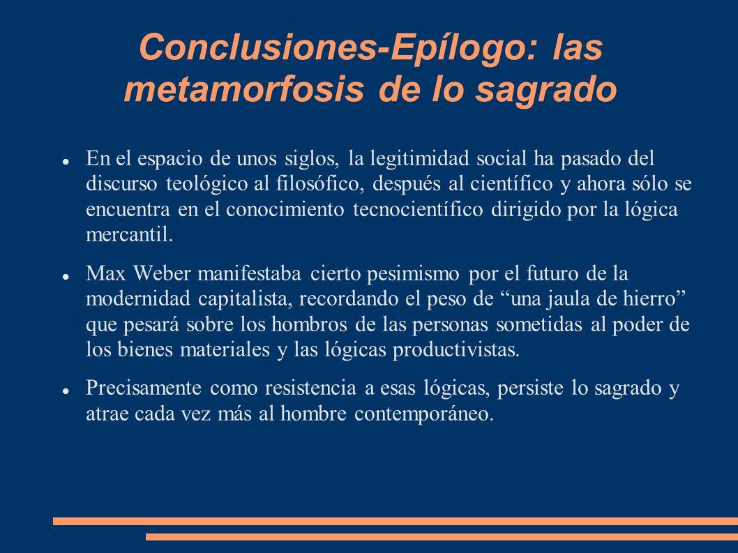 Conclusiones-Epílogo: las metamorfosis de lo sagrado