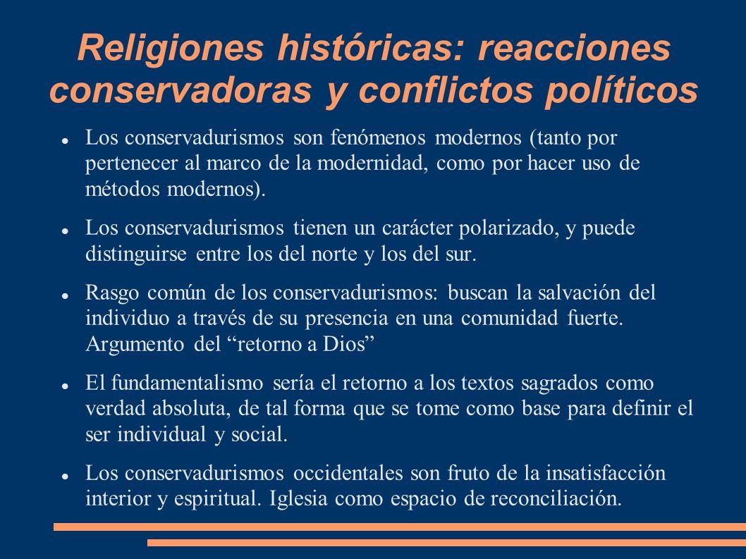 Religiones históricas: reacciones conservadoras y conflictos políticos