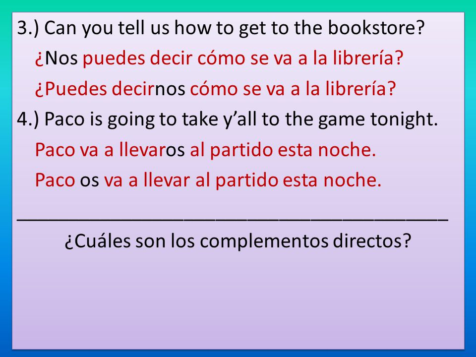 3. ) Can you tell us how to get to the bookstore