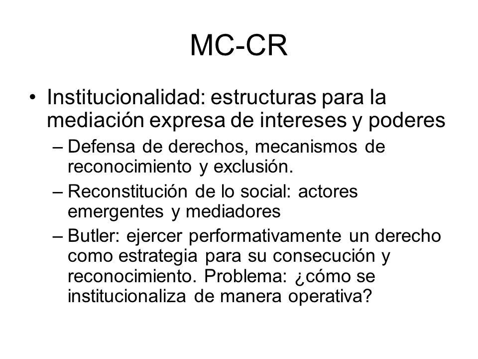 MC-CRInstitucionalidad: estructuras para la mediación expresa de intereses y poderes. Defensa de derechos, mecanismos de reconocimiento y exclusión.