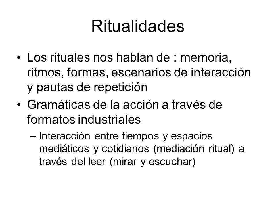 Ritualidades Los rituales nos hablan de : memoria, ritmos, formas, escenarios de interacción y pautas de repetición.