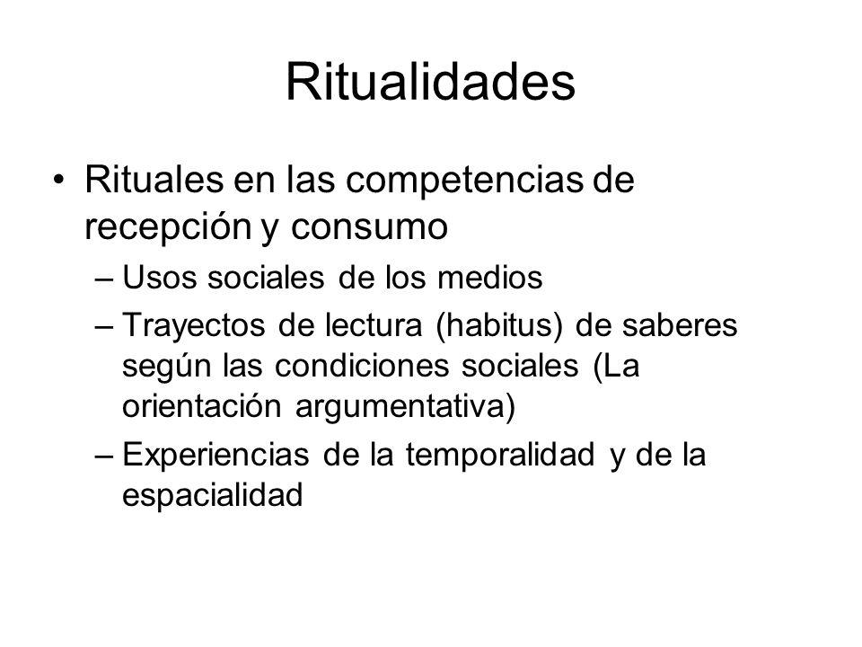 Ritualidades Rituales en las competencias de recepción y consumo