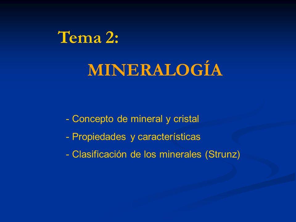 Tema 2: MINERALOGÍA Concepto de mineral y cristal