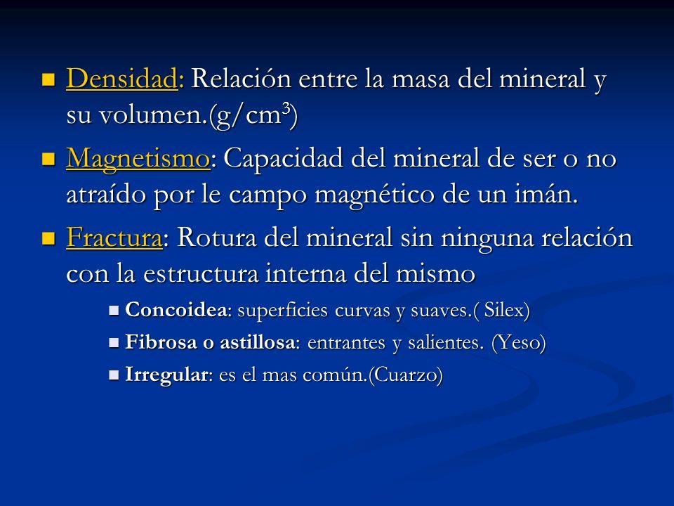 Densidad: Relación entre la masa del mineral y su volumen.(g/cm3)